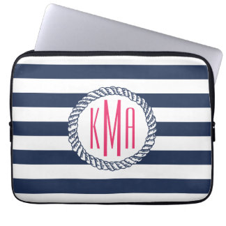 Preppy Nautical Navy & White Stripe Pink Monogram Laptop Computer Sleeve