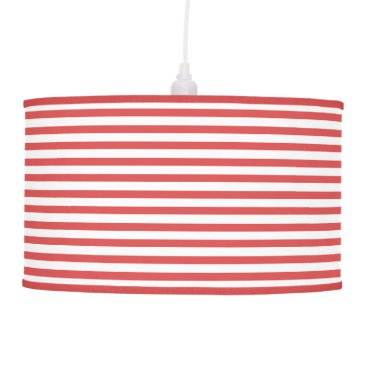Beach Themed Preppy Nautical Red & White Stripes Pendant Lamp