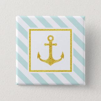 Preppy Nautical Stripes Gold Faux Glitter Anchor Pinback Button
