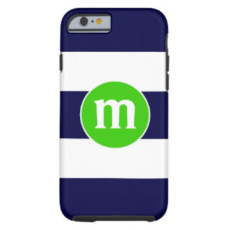 Preppy Nautical Stripes Personalized Initial Case Tough iPhone 6 Case