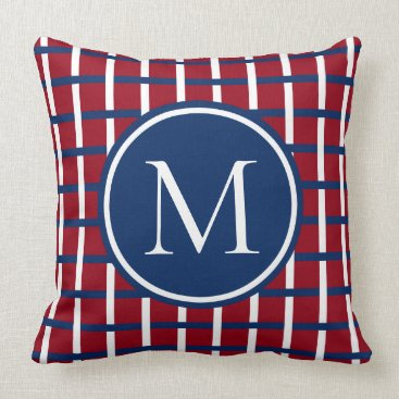Beach Themed Preppy Navy and White Plaid on Red Monogram Throw Pillow