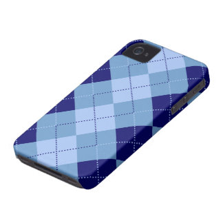 Preppy Navy Blue and Baby Blue Checker Patterns Case-Mate iPhone 4 Cases