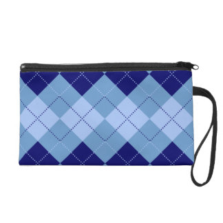 Preppy Navy Blue and Baby Blue Patterns Wristlet Purse