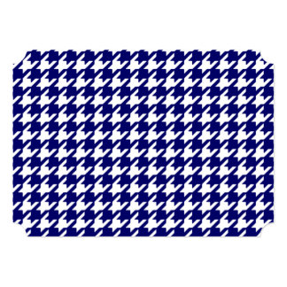 Preppy Navy Blue and White Houndstooth Pattern 5x7 Paper Invitation Card
