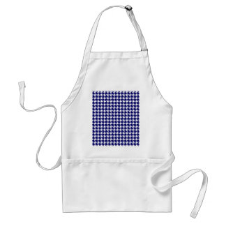 Preppy Navy Blue and White Houndstooth Pattern Apron