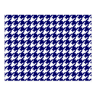 Preppy Navy Blue and White Houndstooth Pattern Postcard