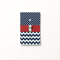 Preppy Navy Blue polka dots and zigzag Light Switch Cover