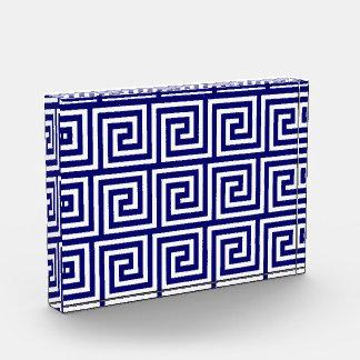 Preppy Navy Blue White Greek Key Pattern Award