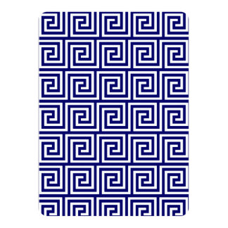 Preppy Navy Blue White Greek Key Pattern Card