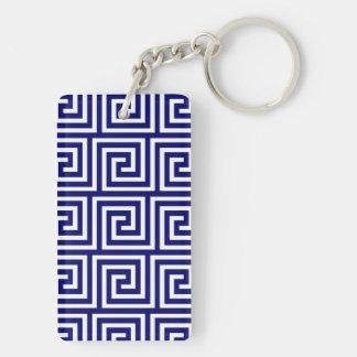 Preppy Navy Blue White Greek Key Pattern Keychain