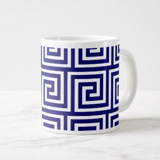 Preppy Navy Blue White Greek Key Pattern Large Coffee Mug