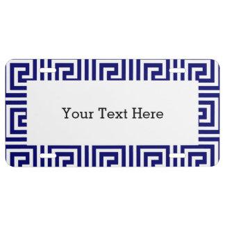 Preppy Navy Blue White Greek Key Pattern License Plate