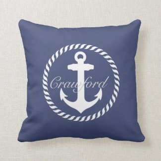 Preppy Navy Blue & White Nautical Anchor Monogram Pillows