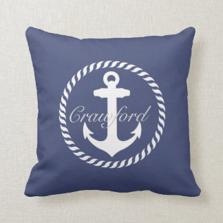 Preppy Navy Blue & White Nautical Anchor Monogram Throw Pillow