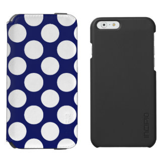 Preppy Navy Blue White Polka Dots Pattern iPhone 6/6s Wallet Case