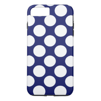 Preppy Navy Blue White Polka Dots Pattern iPhone 8 Plus/7 Plus Case
