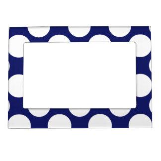Preppy Navy Blue White Polka Dots Pattern Magnetic Photo Frames