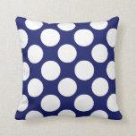 Preppy Navy Blue White Polka Dots Pattern Pillow
