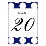 Preppy Navy Blue White Polka Dots Pattern Table Card