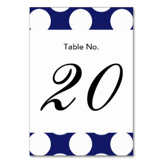 Preppy Navy Blue White Polka Dots Pattern Table Card
