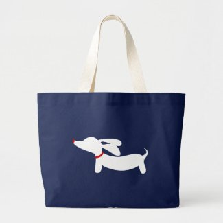 Preppy Navy Dachshund Doxie Dog Tote Bag