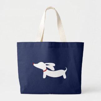 Preppy Navy Dachshund Doxie Dog Tote Bag