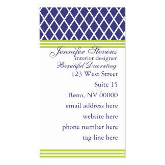 Preppy Navy Lattice Business Card