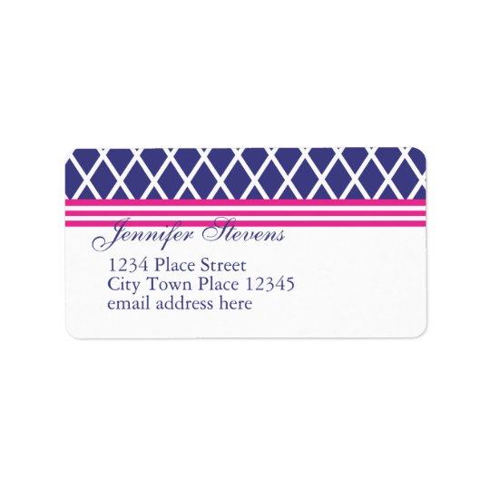 Preppy Navy Lattice Label