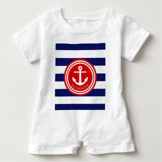 Preppy Navy Nautical Stripe Anchor Monogram on Red Baby Romper