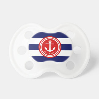Preppy Navy Nautical Stripe Anchor Monogram on Red Pacifier