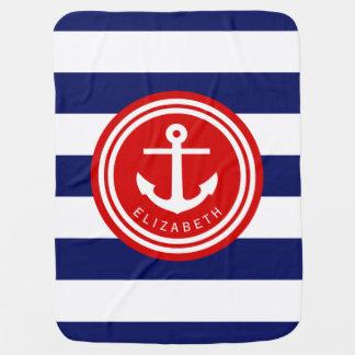 Preppy Navy Nautical Stripe Anchor Monogram on Red Receiving Blanket