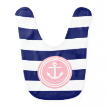 Preppy Navy Stripe Anchor Monogram on Pink Bib