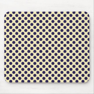 Preppy navy & tan polka dot print pattern mouse pad