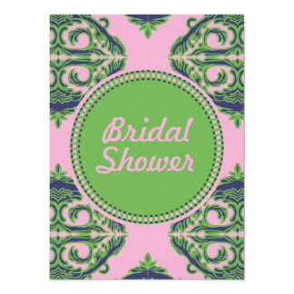 Preppy Pale Pink, Green & Blue Damask 5.5x7.5 Paper Invitation Card