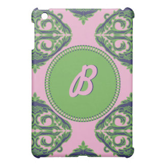 Preppy Pale Pink, Green & Blue Damask iPad Mini Cover