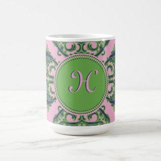 Preppy Pale Pink, Green & Blue Damask Classic White Coffee Mug