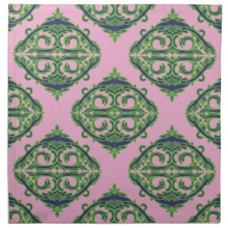Preppy Pale Pink, Green & Blue Damask Printed Napkin