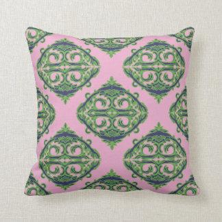 Preppy Pale Pink, Green & Blue Damask Pillow