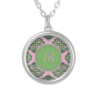 Preppy Pale Pink, Green & Blue Damask Round Pendant Necklace