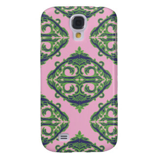 Preppy Pale Pink, Green & Blue Damask Samsung Galaxy S4 Cover
