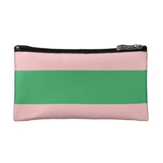 Preppy Pale Pink & Green Cute Small Cosmetic Bag