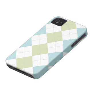 Preppy Pastel Blue and Green Checker Patterns iPhone 4 Cover