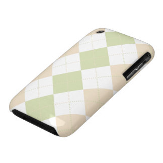 Preppy Pastel Peach and Green Checker Patterns iPhone 3 Covers