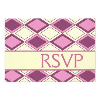 Preppy Pastel Pink Argyle Modern Birthday RSVP Announcements