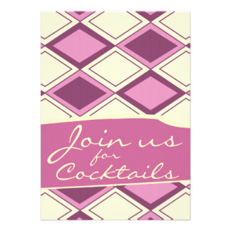 Preppy Pastel Pink Argyle Retro Modern Pattern Personalized Invite