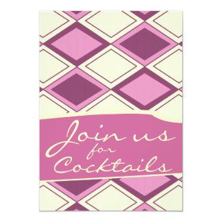 Preppy Pastel Pink Argyle Retro Modern Pattern Personalized Invite