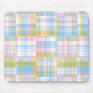 Preppy Patchwork Look Madras Pastel Mouse Pad