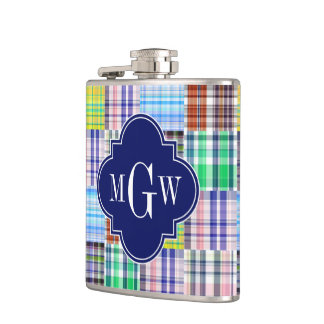 Preppy Patchwork Madras Navy Quatrefoil  Monogram Hip Flask