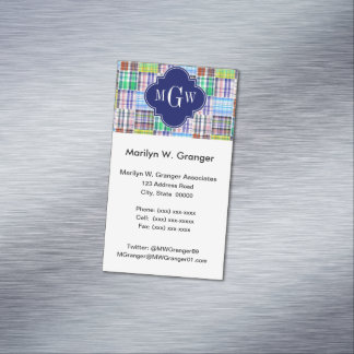 Preppy Patchwork Madras Navy Quatrefoil  Monogram Magnetic Business Cards (Pack Of 25)
