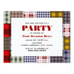 Preppy Patchwork Plaid Party Invitation